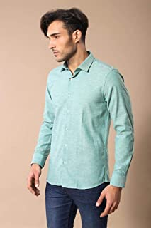 Keten Slimfit Yeşil Gömlek XL