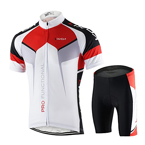Lixada Men's Cycling Jersey Short Sleeve with Padded Shorts Quick-Dry Summer Short Bike Clothing Bicycle Shirts Pants Set
