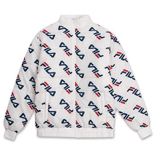 Fila Men Puffer Jacket Big and Tall Jacket Comfortable Winter Mens Puffer Jacket White 4XLT