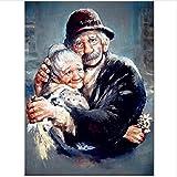 Kit Manualidades Regalo para Adultos O Niños - Decoraciones para El Hogar DIY Pintura por Número De Kit - Feliz Pareja De Ancianos