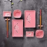 Panbado Porzellan Japanisch Sushi 10-teilig Set, Rechteckig Sushi Teller mit Reisschalen, Dipschälchen, Bambus Essstäbchen und Essstäbchen Ablage für 2 Personen, Sakura Muster, Rosa - 8