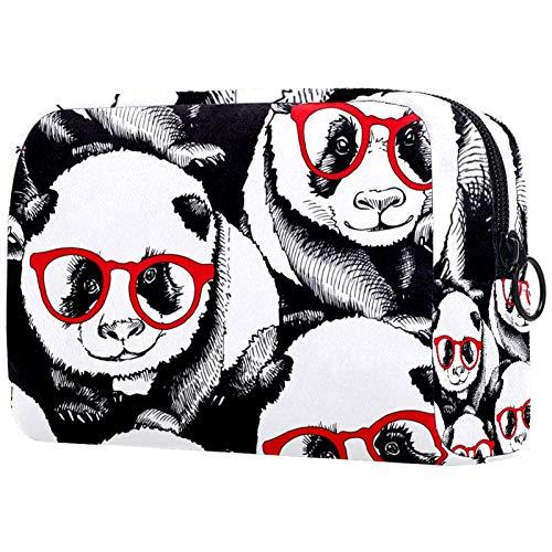AITAI Bolsa de maquillaje grande bolsa de viaje organizador de cosméticos Panda y gafas rojas