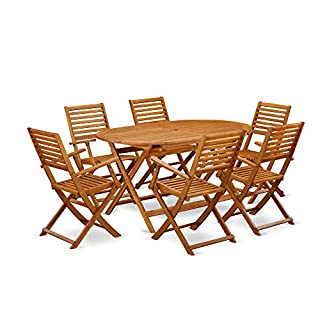This 7 Pc Acacia Wood Outdoor Dining Sets includes an outdoor table and 6 patio dining chairs (B07N1KD7HB) | Amazon price tracker / tracking, Amazon price history charts, Amazon price watches, Amazon price drop alerts