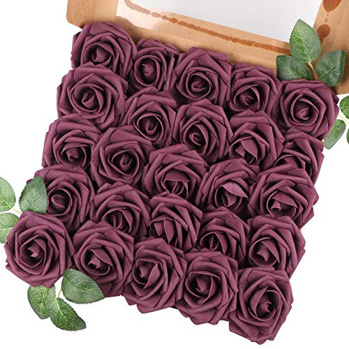 Aecren Artificial Flowers Roses 25pcs Real Looking Fake Flowers Foam Roses w/Stem DIY Wedding Party Bouquets Centerpieces Baby Shower Home Decorations Room Decor (Mauve)