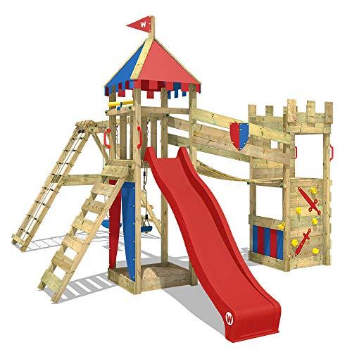 WICKEY Smart Legend 150 - Torre de juegos con balancín y tobogán rojo, casa de juegos con caja de arena, escalera y accesorios de juego