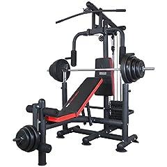 Träna Hårt multi-gym Universal vikt bänk multifunktionell bänk med hantel rack Latzug Butterfly ben extender ben flexor vikbar, inkl. 60kg vikter