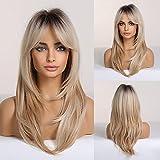 HAIRCUBE Perruques De Cheveux Synthétiques Longues Couches Pour Femmes Blondes Aux Racines Foncées
