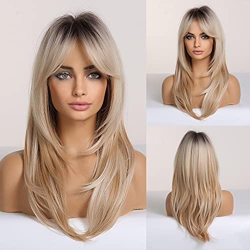 HAIRCUBE Long Layered Synthetic Hair Perücken für Frauen Blond mit Dunklen Wurzeln