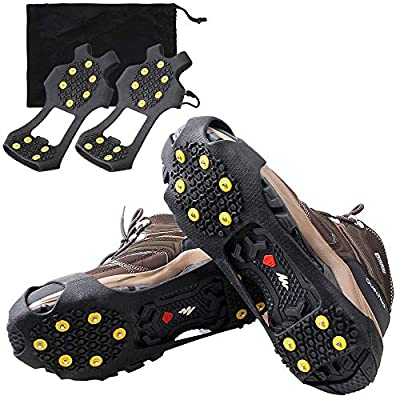 OROOTL Ice Snow Cleats Walk Traction Cleats for Shoes and Boots Anti Slip 10 Steel Studs Crampons Winter Ice Cleats for Men Women Slip-on Stretch Footwear