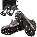 OROOTL Snow Cleats Ice Grips for Shoes and Boots Anti Slip 10 Steel Studs Crampons Winter Ice Grippers for Men Women Slip-on Stretch Footwear