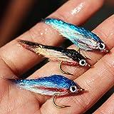 Tigofly Juego de 12 señuelos para pesca con mosca de pececillo herido, UV, polar, se hunde lentamente, salmón, trucha y mosca, talla 8