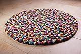 Filzkugelteppich in bunt, Ø 150cm, 100% Schurwolle, handgefertigt