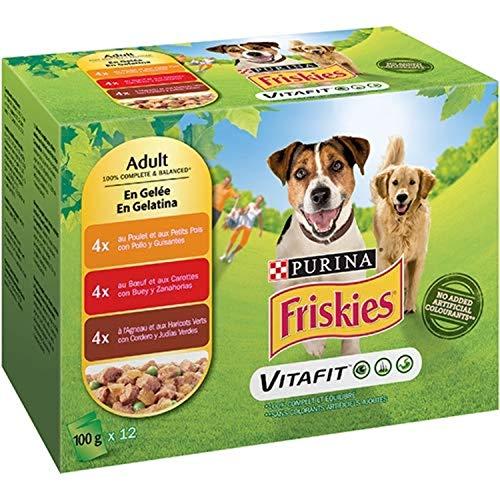 Nestlé Purina Friskies Comida húmeda para Perros Adulto con Pollo, Cordero y Buey en gelatina 12x100 g - Pack de 6