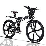 VIVI Bicicleta Electrica Plegable 250W Bicicleta Eléctrica Montaña, Bicicleta Montaña Adulto Bicicleta Electrica Plegable con Rueda Integrada de 26', Batería de 8 Ah, 25 km/h Velocidad MÁX (Negro)