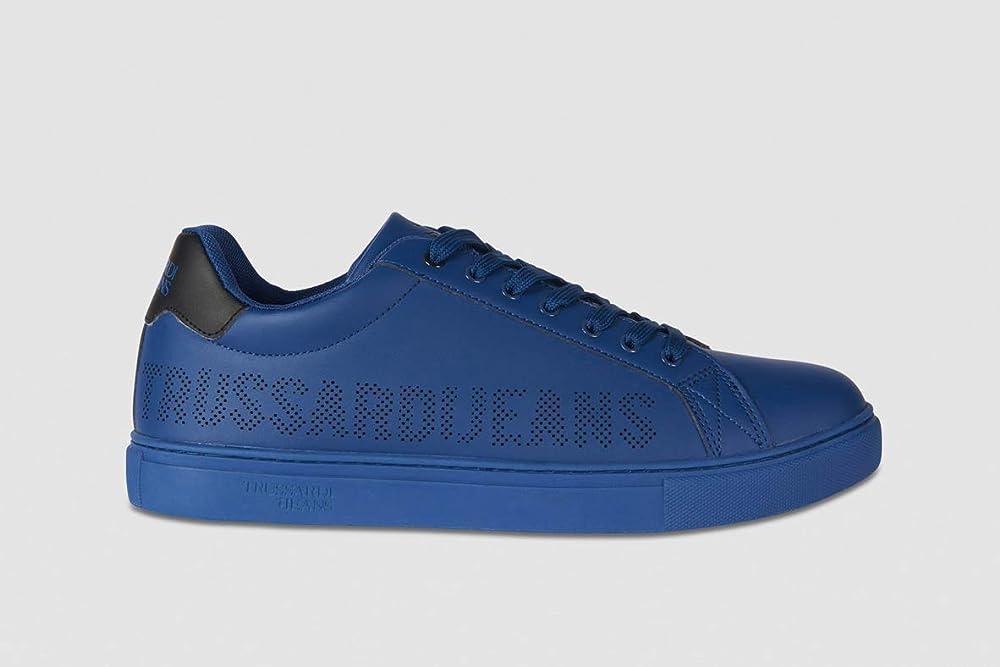 Trussardi,scarpe sneackers da uomo stringata in pelle, con logo in rilievo 77A00228