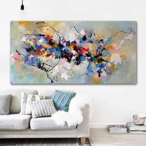 Modern Abstract Painting on Canvas Colorful Posters and Print Scandinavian Wall Art Picture for Living Room Home Decoration 75x150cm(30x60in) InnerFrame