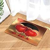 JHTRSJYTJ Día de San Valentín en Forma de corazón Rojo Pareja sosteniendo Paraguas Alfombrilla de baño Antideslizante Impresa en HD,Alfombrilla Interior,Lavable de 50×80cm,Esencial para la Familia