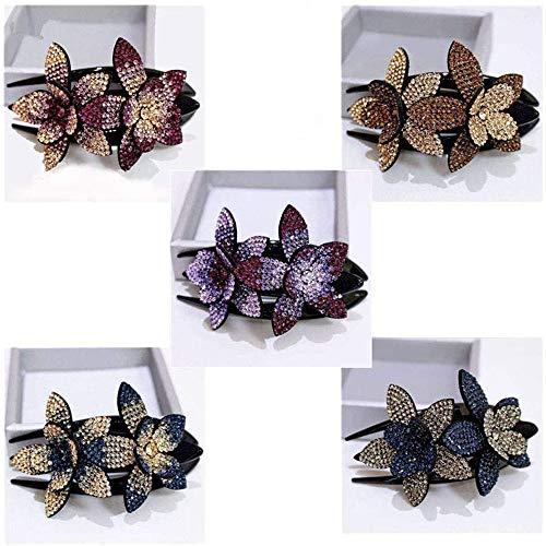 5 Stück Strass Doppelblume Haarspange, Mode Damen Strass Blume Haarnadel, Elegante Lady Schwalbenschwanz Clip Schmuck (A)