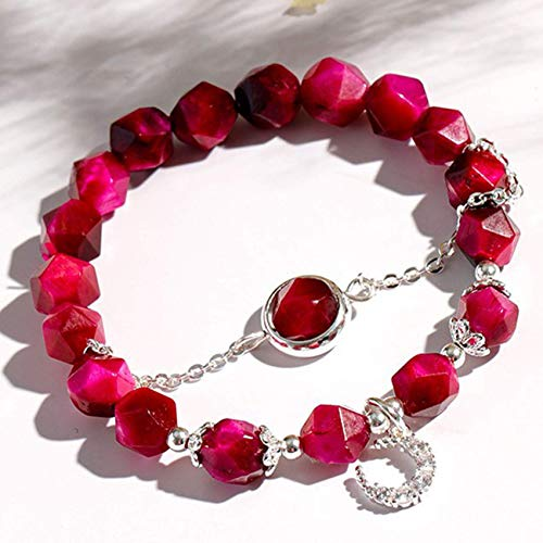 JIACUO Fashion Gift,Feng Shui Wealth Crystal Bracelet Natural Rose Red Tiger Eye Stone Moon Double Bracelet Beaded Stretchy Bracelet Amulet Attracts Money Luck