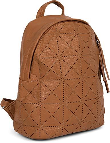styleBREAKER Damen Rucksack Handtasche mit geometrischen Cutouts, Reißverschluss, Tasche 02012293, Farbe:Cognac