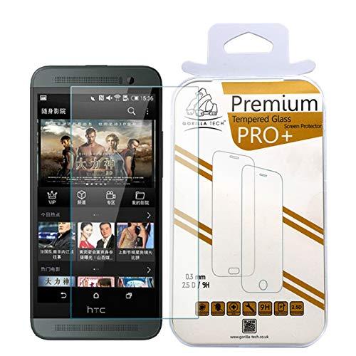 Gorilla Tech Protector de pantalla de cristal templado para HTC One M8, transparente, calidad HD para HTC One M8