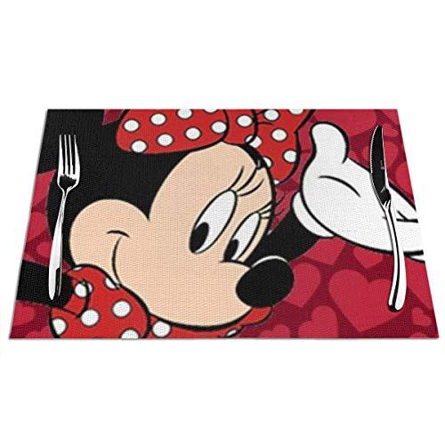KINGAM Manteles individuales rojos de Minnie Mouse para mesa de comedor lavable cocina PVC tejido manteles