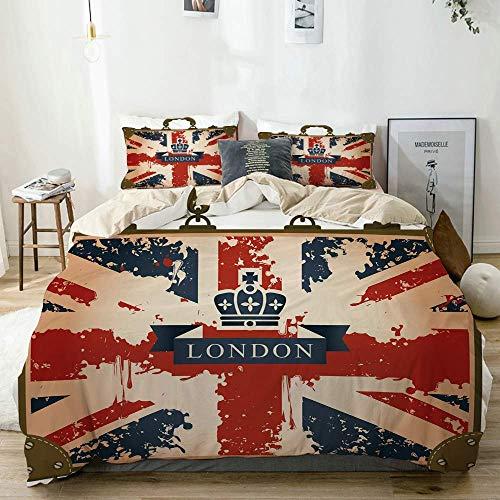 Juego de funda nórdica beige, maleta de viaje vintage con bandera británica, cinta de Londres e imagen de corona, juego de cama decorativo de 3 piezas con 2 fundas de almohada, fácil cuidado, antialér