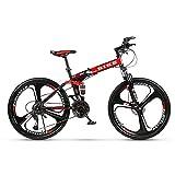 Novokart-Plegable Deportes/Bicicleta de montaña 26 Pulgadas 3 Cortador, Rojo