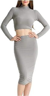 Kankanluck 女性タートルネック純カラー作物トップスカートドレス2個セット