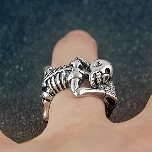 Anillo de hombre punk retro esqueleto cráneo apertura anillo para hombres y mujeres moda hip hop fiesta accesorios creativos regalo de la joyería de Halloween