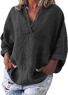 LOPILY Leinen Oberteile Damen Einfarbige Basic Bluse Haifisch Kragen Langarm Tunika Große Größen Elegante Lose Blusentops Damen Skinsuits Luftige Leinenbluse 48 46 44 Fransen Shirts