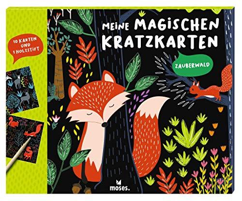 Moses 3102 Meine magischen Kratzkarten Zauberwald | 10 Kratzbilder mit Holzstift | Malset zum Basteln am Kindergeburtstag | Scratch Art | Für Kinder ab 4 Jahren, Bunt