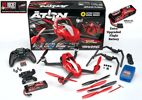 Traxxas 7908 Aton Quad Copter Helicopter 50mph Value Bundle With Extra Flight Battery Smartphone Screen Cleaner Ready To Fly