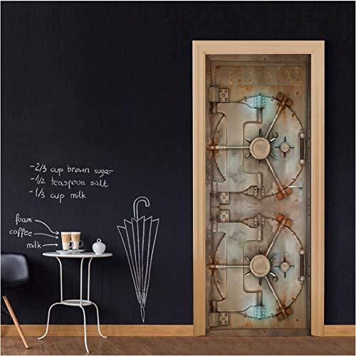 Türaufkleber 3D Tür Aufkleber Kreative Wandbild Tapete für Wohnzimmer Kinder Abnehmbare Vinyltür Wandtattoo Art Home Decoration Vault tür, vintage