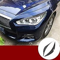 インフィニティQ50 2013-2020用カーボンファイバーフロントヘッドライトアイリッドアイブロウカバートリム2個