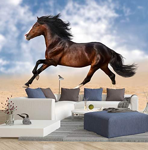 Vlies Tapete XXL Poster Fototapete Pferd Galopp Sommerhimmel Farbe color, Größe 100 x 80 cm selbstklebend