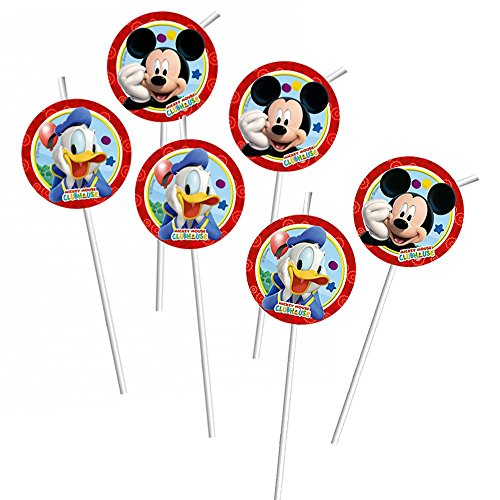 Disney Mickey Mouse - Party Pailles d'Anniversaire 6 Pièces Mickey Mouse