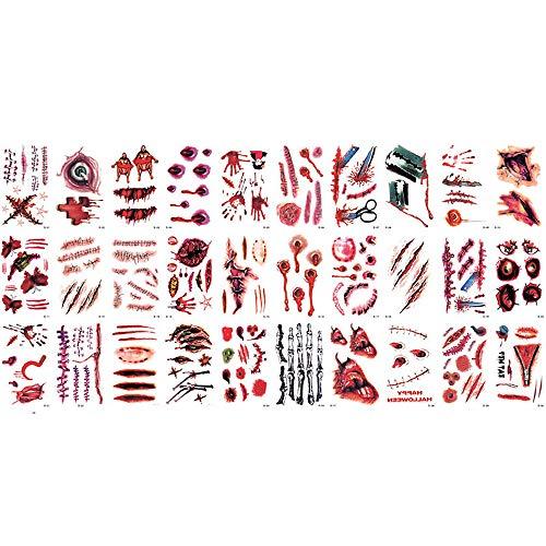 CANDLLY Halloween Dekoration Cosplay 30 Stück Wasserdichte Vampire Temporäre Fake Tattoos Blutige Aufkleber Wundstich Narben Zombie Vampir Narben Sticker Tattoo Party Zubehör