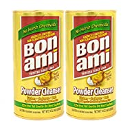 Bon Ami Powder Cleanser for Kitchens & Bathrooms - All Types of Surfaces, Cleans Grime, Dirt, Polishes Surfaces, Absorbs Odors - Twin Pack