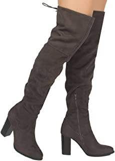 39de1665c Qupid Zinc-01 Women's Lace up Back Stretchy Over The Knee Stacked Chunky  Boots