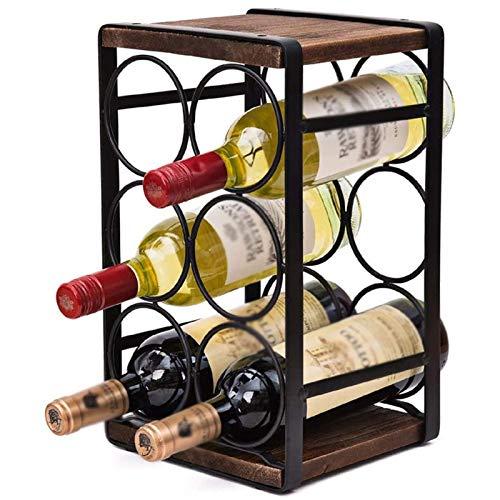 FHKBK Estante de Vino Estante de exhibición de Vino Multifuncional para el hogar Estante de Vino de encimera Antiguo Estante de Vino de Metal Estante de Rejilla Simple Moderno Creativo