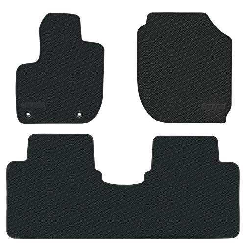 San Auto Car Floor Mats Custom Fit for Honda HR-V 2016 2017 2018 2019 Fit 2015-2019 Full Black Rubber Car Floor Liners Set All Weather Protection Heavy Duty Odorless