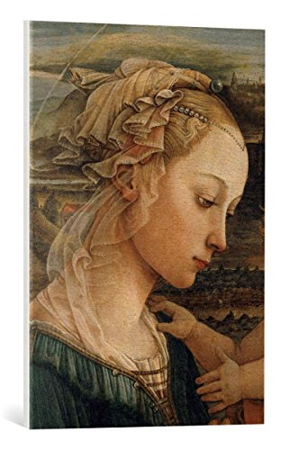 kunst für alle Canvas Print: Fra Filippo Lippi Madonna and Child with Two Angels Fine Art Print, Canvas on Stretcher, Ready to Hang Wall Picture, 19.7x27.6 inch / 50x70 cm