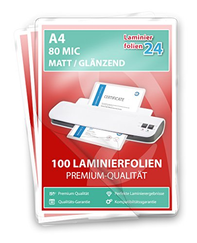 XLam Laminierfolien A4-2 x 80 Mic - matt/glänzend - 50 Stück - PREMIUMQUALITÄT FÜR PERFEKTE LAMINIERERGEBNISSE