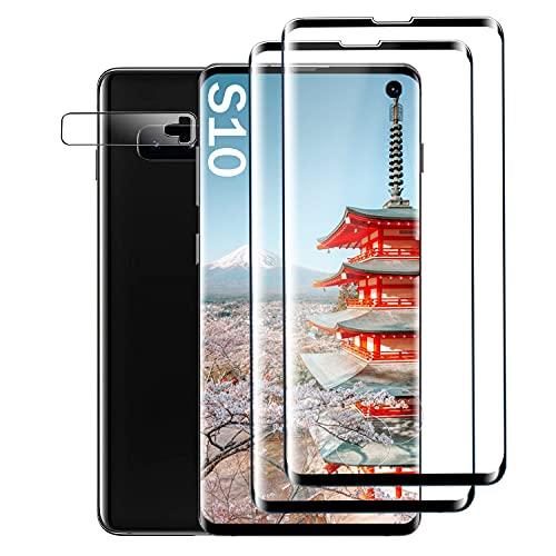 Galaxy S10 Film Protection Ecran Verre Trempé, [2 Pièces] [Full Coverage] [Dureté 9H] [Ultra Claire] [Anti Rayures] Film Protecteur en Verre trempé de Haute qualité pour Samsung Galaxy S10