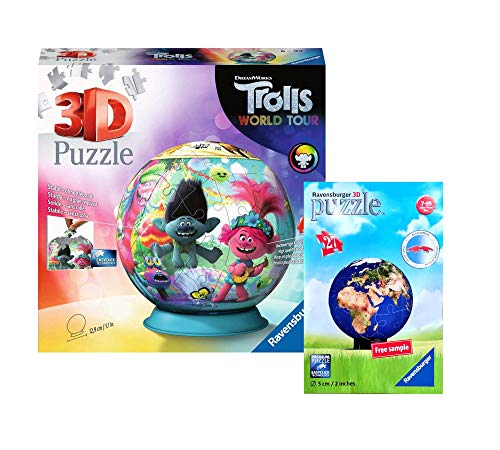 Ravensburger – Juego de puzzle – Trolls World Tour 3D Puzzle Ball + bola del mundo 3D (bolsa de plástico)