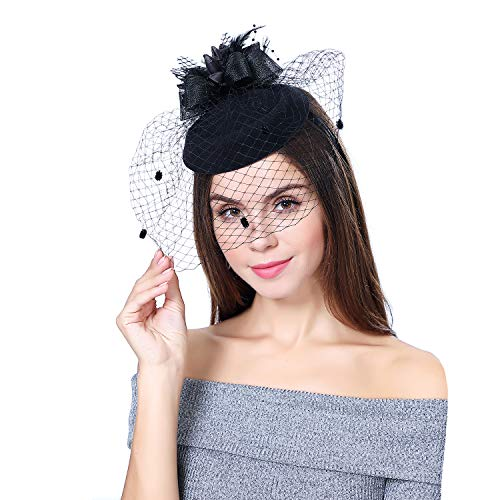 YFWFASH Fascinators for Women Feather Fascinators Pillbox Hat Party Hats for Wedding Derby Tea Easter Church