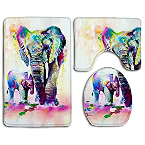 3 Pieces Bathroom Rug Mat Set, Elephant Watercolor Bath Mat+ Lid Toilet Cover + Bath Mat Set Rug Area Carpet for Home Decorations