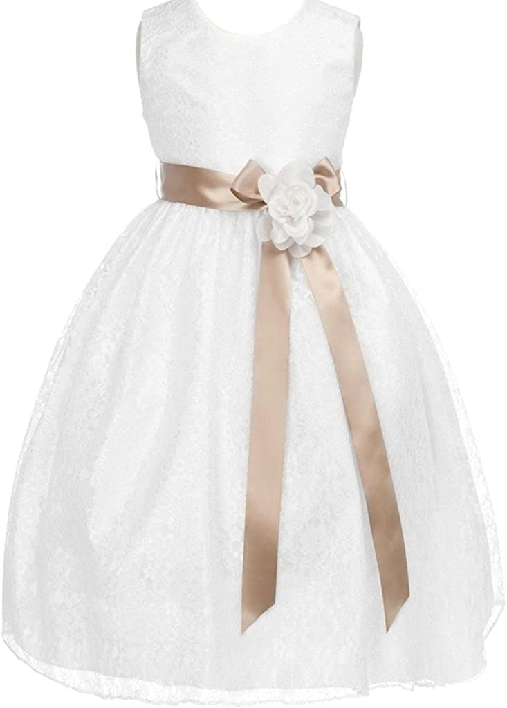 BluNight Collection Little Girls Floral Lace Overlay Sash Corsage Flower Girls Dresses
