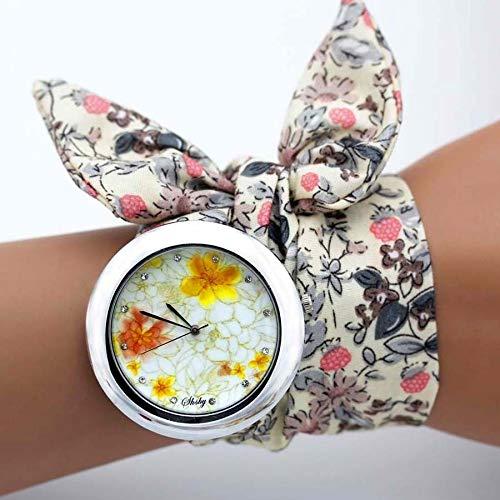 QWERTYU Shsby ontwerp Dames bloem doek horloge mode vrouwen jurk horloge hoge kwaliteit stof horloge zoete meisjes armband horloge lijian, BG20